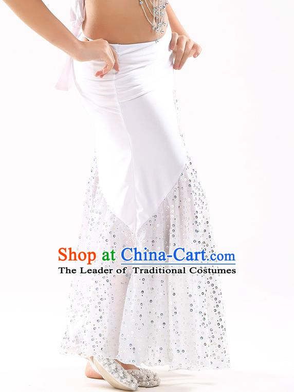 Traditional India Oriental Bollywood Dance White Skirt Indian Belly Dance Costume for Kids
