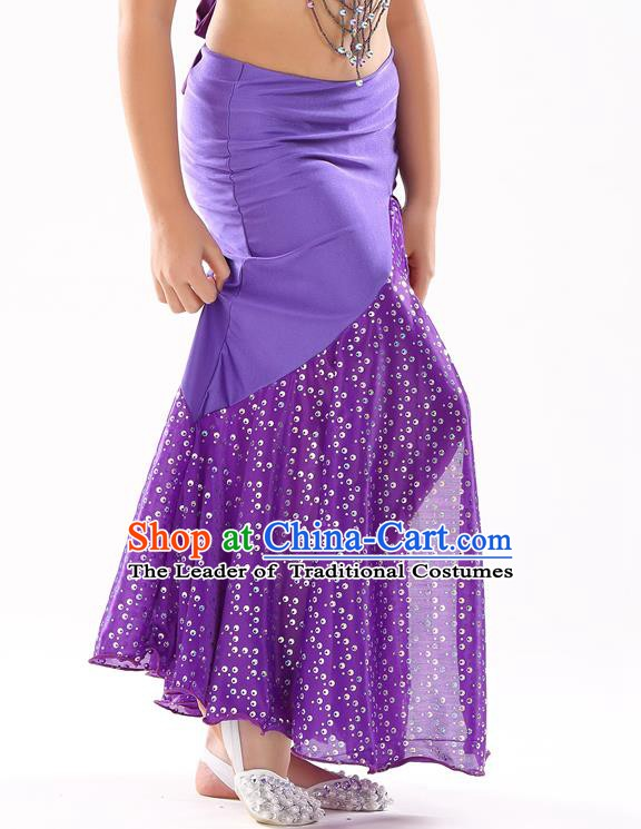 Traditional India Oriental Bollywood Dance Purple Skirt Indian Belly Dance Costume for Kids