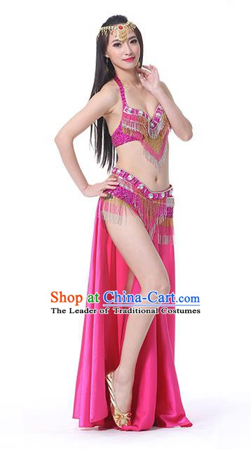 Indian Traditional Oriental Bollywood Dance Rosy Dress Belly Dance Sexy Costume for Women