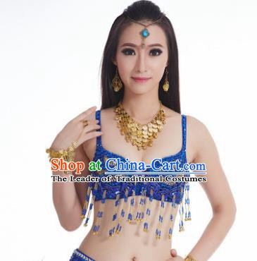 Traditional Belly Dance Bells Blue Brassiere Indian Oriental Dance Costume for Women