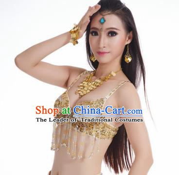 Traditional Belly Dance Bells Golden Brassiere Indian Oriental Dance Costume for Women