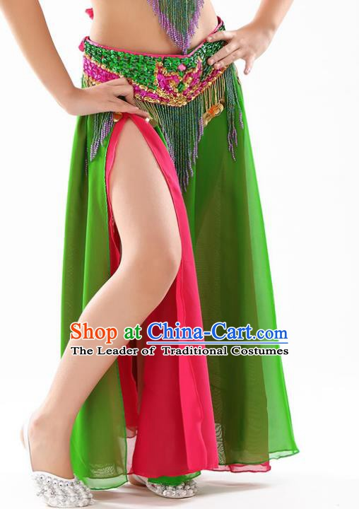 Traditional Indian Children Stage Dance Green Skirt Belly Dance Costume for Kids