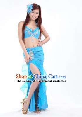 Traditional Indian Stage Oriental Dance Blue Dress Belly Dance Costume for Women