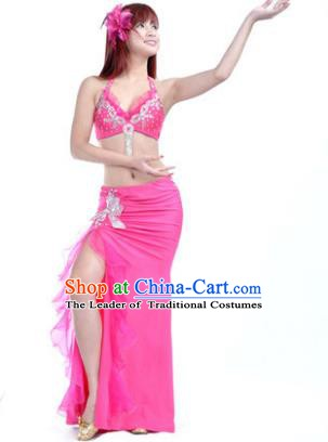 Traditional Indian Stage Oriental Dance Rosy Dress Belly Dance Costume for Women