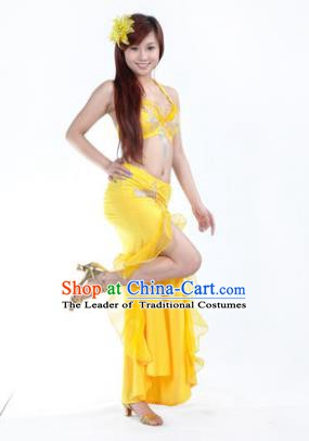 Traditional Indian Stage Oriental Dance Yellow Dress Belly Dance Costume for Women