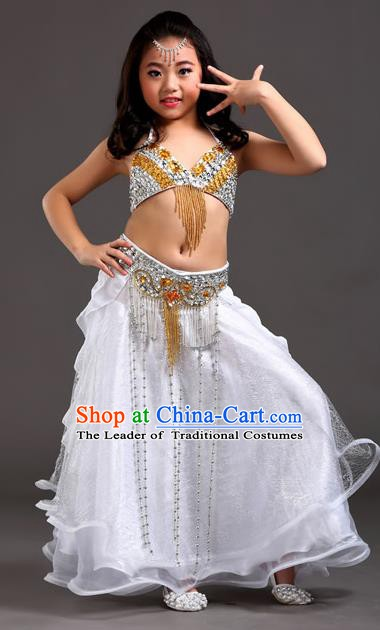 Indian Traditional Stage Performance Dance White Dress Belly Dance Costume for Kids