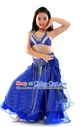 Indian Traditional Stage Performance Dance Royalblue Dress Belly Dance Costume for Kids