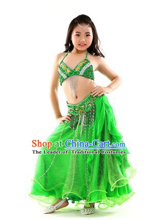 Indian Traditional Stage Performance Dance Green Dress Belly Dance Costume for Kids
