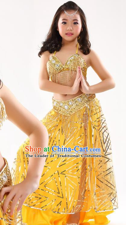 Traditional Indian Children Oriental Dance Yellow Dress Belly Dance Costume for Kids