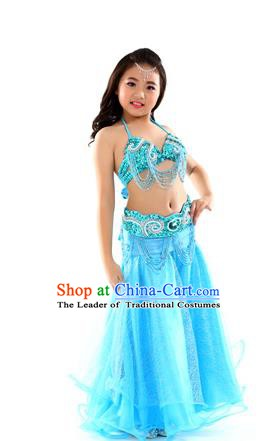 Traditional Indian Children Dance Performance Blue Dress Belly Dance Costume for Kids
