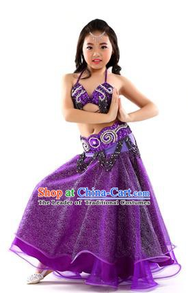 Traditional Indian Children Dance Performance Purple Dress Belly Dance Costume for Kids