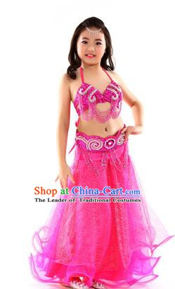 Traditional Indian Children Dance Performance Rosy Dress Belly Dance Costume for Kids