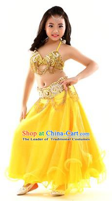 Traditional Indian Children Dance Performance Yellow Dress Belly Dance Costume for Kids