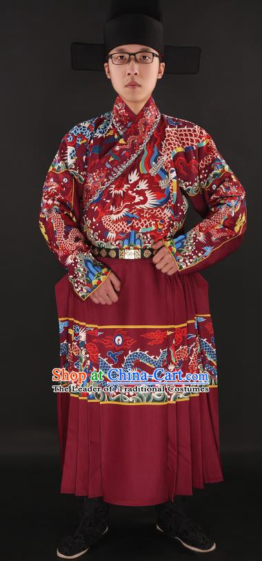 Chinese Ming Dynasty Imperial Guards Costumes Ancient Swordsman Embroidered Red Robe for Men
