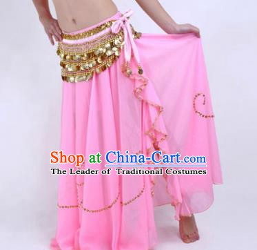 Indian Belly Dance Stage Performance Costume, India Oriental Dance Pink Skirt for Women