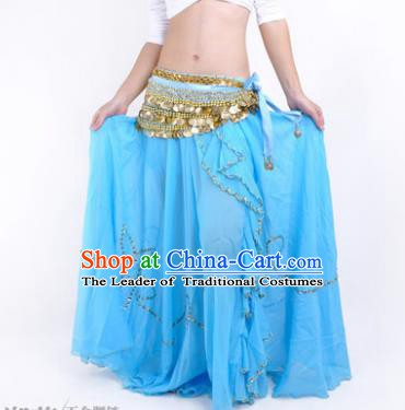 Indian Belly Dance Stage Performance Costume, India Oriental Dance Blue Skirt for Women