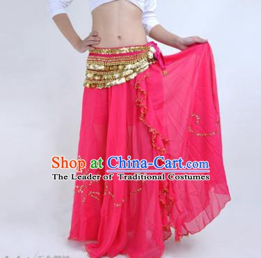 Indian Belly Dance Stage Performance Costume, India Oriental Dance Rosy Skirt for Women