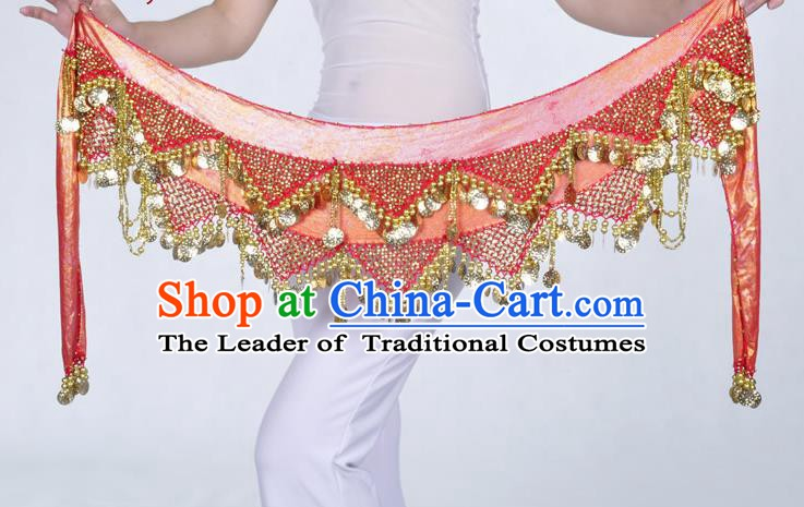 Indian Belly Dance Accessories Golden Sequin Red Waist Chain Belts India Raks Sharki Waistband for Women