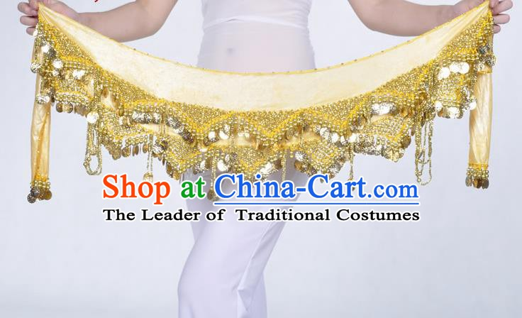 Indian Belly Dance Accessories Golden Sequin Yellow Waist Chain Belts India Raks Sharki Waistband for Women