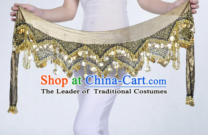Indian Belly Dance Accessories Golden Sequin Black Waist Chain Belts India Raks Sharki Waistband for Women