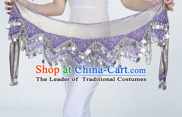 Indian Belly Dance Accessories Golden Sequin Purple Waist Chain Belts India Raks Sharki Waistband for Women