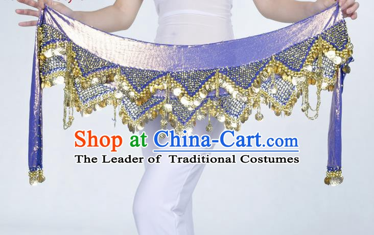 Indian Belly Dance Accessories Golden Sequin Royalblue Waist Chain Belts India Raks Sharki Waistband for Women