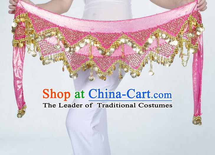 Indian Belly Dance Accessories Golden Sequin Pink Waist Chain Belts India Raks Sharki Waistband for Women