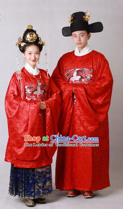 Chinese Ancient Ming Dynasty Emperor and Empress Wedding Embroidered Costume for Women for Men