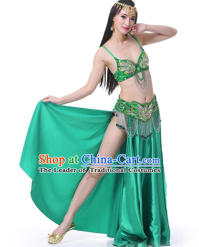 Asian Indian Belly Dance Costume Stage Performance Oriental Dance Green Dress for Women