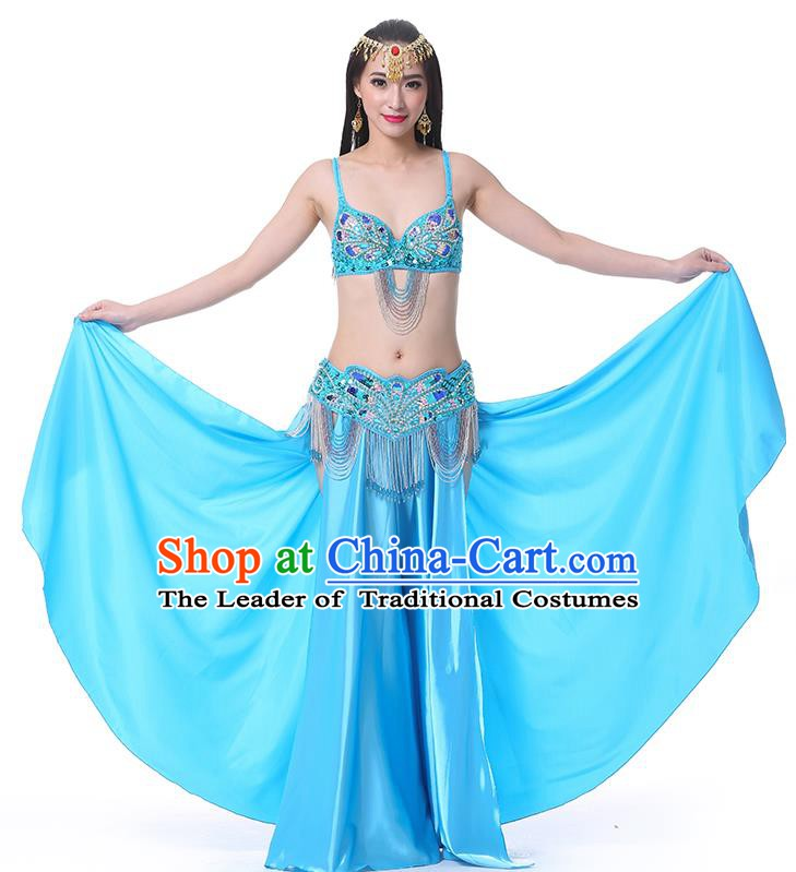 Asian Indian Belly Dance Costume Stage Performance Oriental Dance Blue Dress for Women