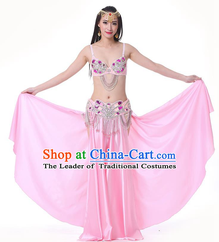 Asian Indian Belly Dance Costume Stage Performance Oriental Dance Pink Dress for Women
