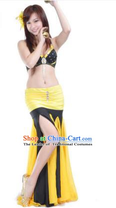 Asian Indian Belly Dance Stage Performance Costume Oriental Dance Yellow and Black Dress for Women
