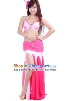Asian Indian Belly Dance Stage Performance Costume Oriental Dance Pink and Rosy Dress for Women