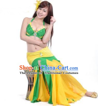 Asian Indian Belly Dance Stage Performance Costume Oriental Dance Yellow and Green Dress for Women
