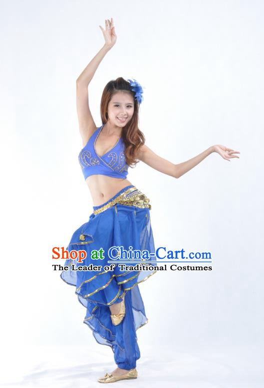 Asian Indian Traditional Costume Belly Dance Stage Performance Oriental Dance Deep Blue Clothing for Women