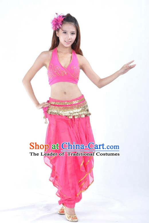 Asian Indian Traditional Costume Belly Dance Stage Performance Oriental Dance Rosy Clothing for Women
