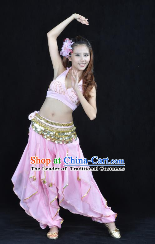 Asian Indian Traditional Costume Belly Dance Stage Performance Oriental Dance Pink Clothing for Women