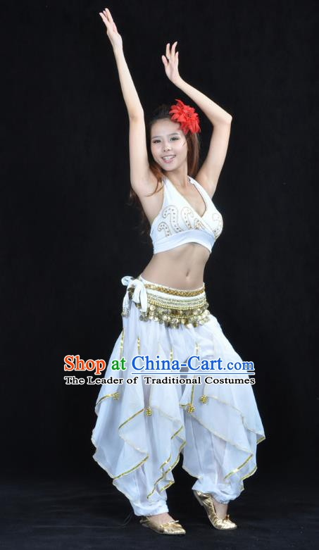 Asian Indian Traditional Costume Belly Dance Stage Performance Oriental Dance White Clothing for Women