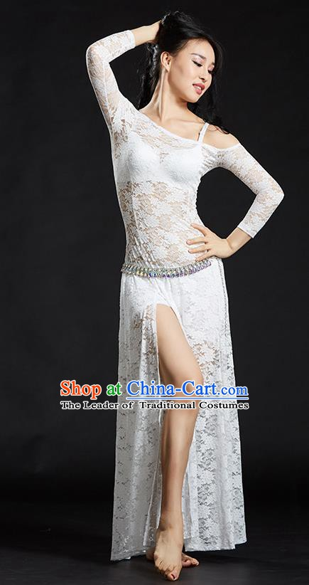 Asian Indian Traditional Costume Belly Dance Stage Performance White Lace Dress for Women