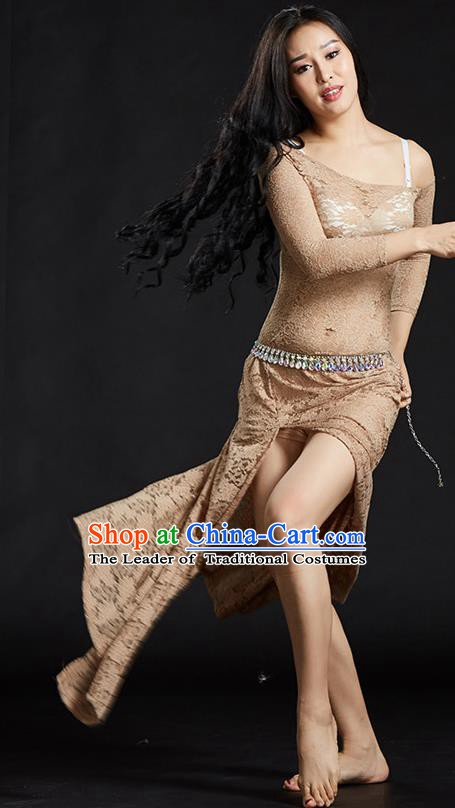 Asian Indian Traditional Costume Belly Dance Stage Performance Khaki Lace Dress for Women