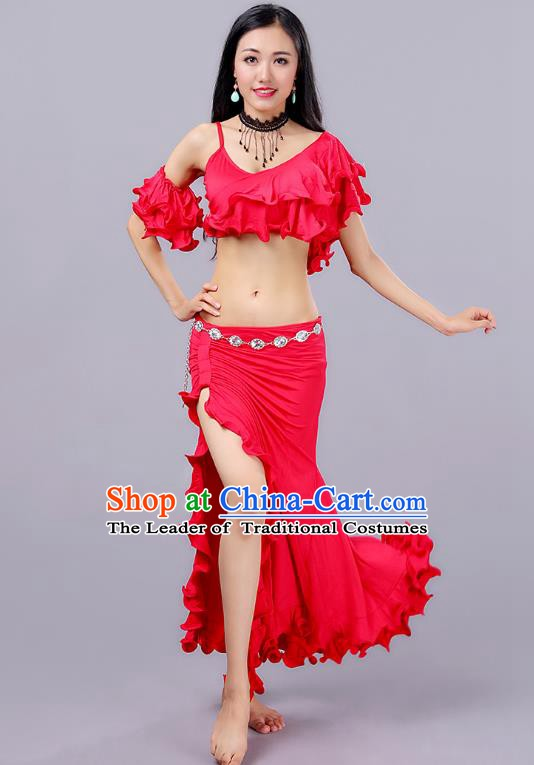 Asian Indian Traditional Oriental Dance Costume Belly Dance Stage Performance Red Dress for Women