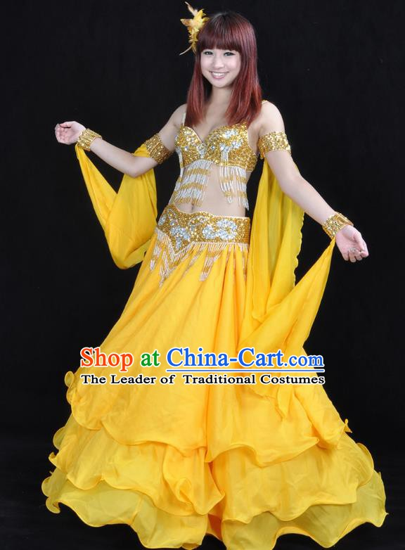 Asian Indian Traditional Oriental Dance Yellow Dress Belly Dance Stage Performance Costume for Women