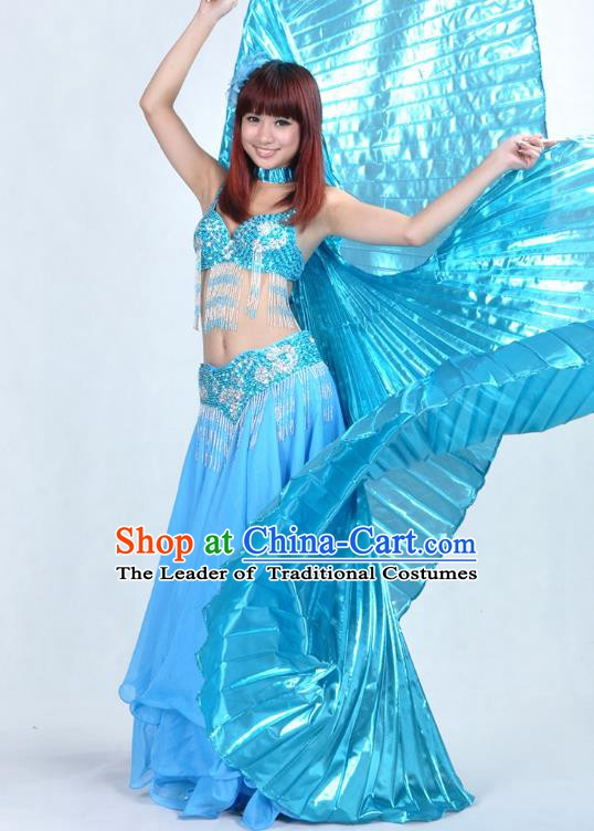 Asian Indian Traditional Oriental Dance Blue Dress Belly Dance Stage Performance Costume for Women