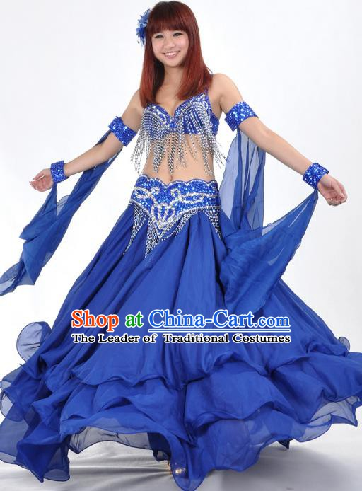 Asian Indian Traditional Oriental Dance Royalblue Dress Belly Dance Stage Performance Costume for Women