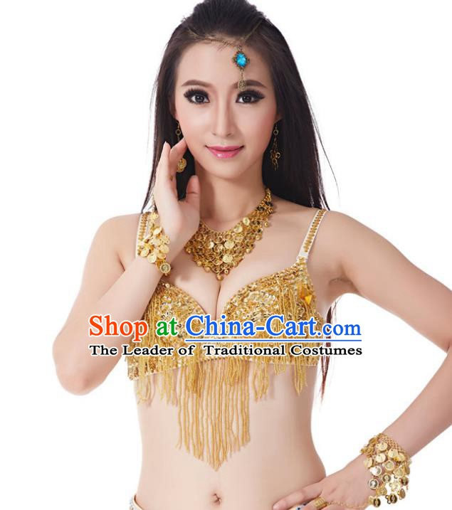 Indian Traditional Belly Dance Golden Brassiere Oriental Dance Costume for Women
