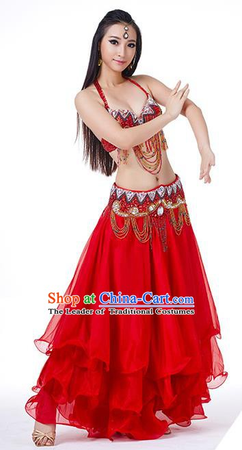 Asian Indian Traditional Costume Oriental Dance Red Dress Belly Dance Stage Performance Clothing for Women