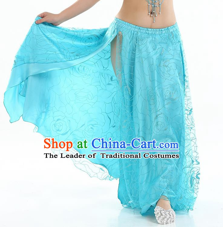 Asian Indian Belly Dance Costume Blue Rose Skirt Stage Performance Oriental Dance Dress for Women