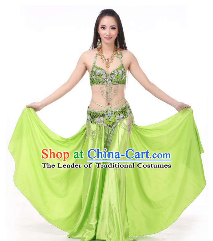 Asian Indian Traditional Costume Oriental Dance Light Green Dress Belly Dance Stage Performance Clothing for Women