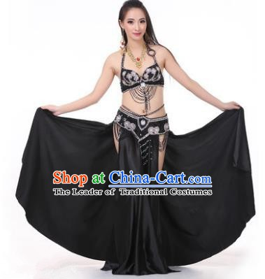 Asian Indian Traditional Costume Oriental Dance Black Dress Belly Dance Stage Performance Clothing for Women