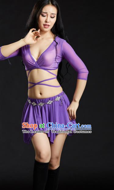 Indian Traditional Yoga Costume Purple Uniform Oriental Dance Belly Dance Stage Performance Clothing for Women
